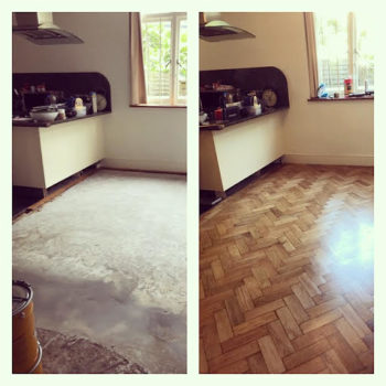 Reclaimed oak floor fitted in the kitchen , sanded and varnished. Swiss Cottage Area